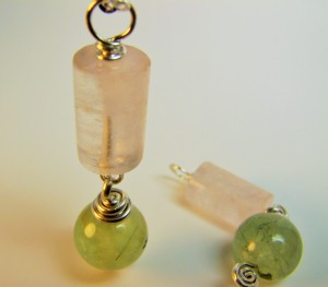 Rose Quartz & Prehnite Pendants