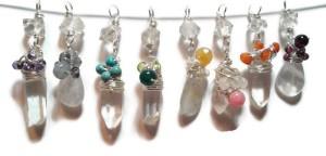 acj herkimer quartz chakra pendants