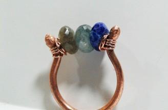 Labradorite, Fluorite, Lapis ring