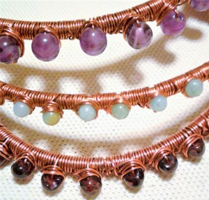 ACJ copper bangles with gemstone nests
